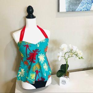 Printed Tankini Two Piece Swimsuit